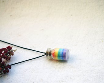 rainbow in a bottle, pendant, jewelry, summer pendant, rainbow pendant, rainbow jewelry, rainbow jewellery, love pendant