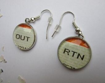 Train Ticket Out & Return Earrings