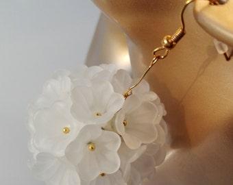 Earrings earrings earrings 'Snowball' blossoms kwiaty flowers ball sphere globe Kula ball
