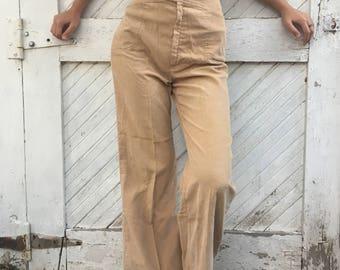 Vintage 1970's Tan Corduroy Flare Wide Leg Pants Pantasias San Francisco