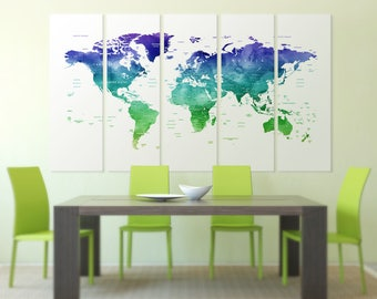 Detailed world map canvas Blue Green map push pin Watercolor Framed push pin map Push Pin travel map Detailed  map wall art Travel map print