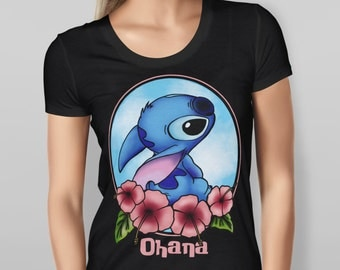 Lilo and Stitch Black T-shirt Women Valentin'e girlfriend gift