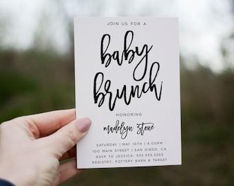 Baby shower brunch invitation, Printable Baby Shower invitation, Gender neutral baby shower, Simple, Minimalist invitations invites
