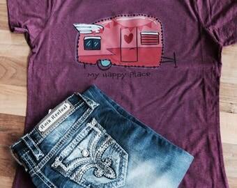 vintage camper tee/camper t-shirt/My Happy Place shirt/Rv tee shirt/rv tee/momlife/T shirt/vintage camper/retro tee/hippie shirt/camper tee