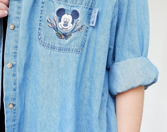 Mickey Mouse Button Up Denim Shirt