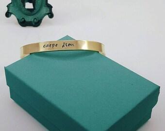 Carpe Diem - Cuff Bracelet | Hand-Stamped | Personalized Bracelet | Brass