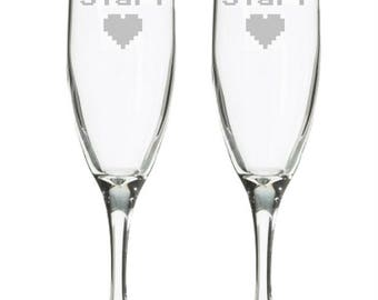Geeky Wedding Champagne Flutes - Video Game Wedding - Comic Book Wedding - Nerdy Wedding - Toasting Glasses - Player 1 Player 2 - Gamer Gift