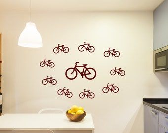 ten bicycles decal, bicycle decal, bicycle wall decal, bicycle wall art, bicycle wall decor,  bicycle shop decal, bicycle shop art