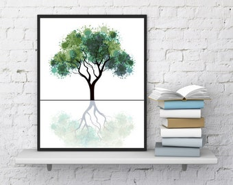 Tree watercolor print, Minimalist art, Printable Nature art, Woodlands art, Watercolor green, Digital tree, Wall decor, Modern fine art