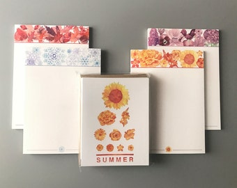 Four Seasonal Notepads and Seasonal Eye Chart Card Set