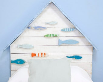 Headboard Bed child fish blue-wedge-head child-headboard bed of 90 cm-play bed House wood-fish wood