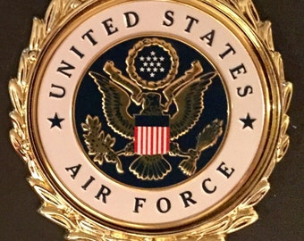 USAF / Military / United States Air Force Emblem Insignia with or without a Gold Wreath for Mounting on Plaques or Shadow Boxes.
