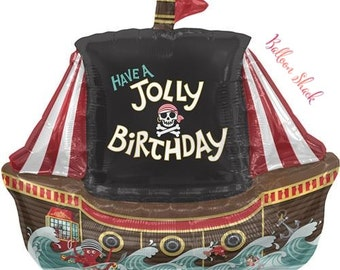"Pirate Ship Balloon-36"" Foil Balloon-Pirate Birthday- Jolly Pirate Balloon"