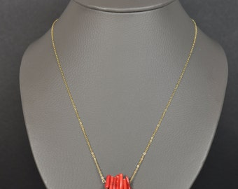 Necklace fine bamboo red Coral Sea