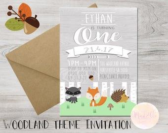DIGITAL Woodland Theme Birthday Invitation