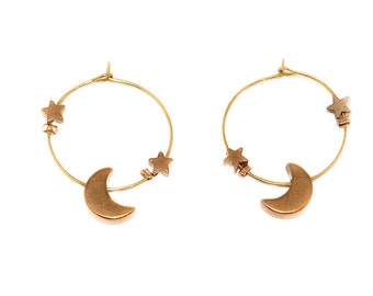 Orbital - small hoop earrings with circling stars and moon
