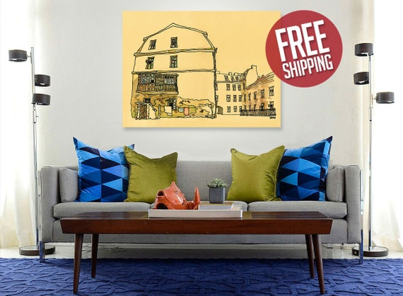 UZUPIS #1, Old Town, Original Artwork, Canvas Print, Old House Painting, Ink & Watercolor, Home Decor, Wall Art, FREE Worldwide Shipping!