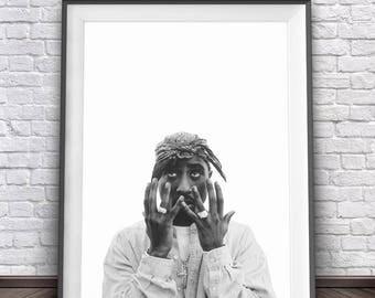 2Pac Poster • Tupac Amaru Shakur Gangsta Rap Posters 2 Pac West Coast Poster Rap Photos 2Pac Art Print Rapper Tupac Poster Tupac Print Art