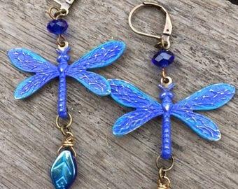 Cobalt Blue - Dragonfly - Earrings
