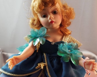 """Vintage Madame Alexander Little Mermaid Portrettes Doll 10"""" Redhed with Multilayerd Ocean Colored Dress and Fish Tails with Gold Charms"""
