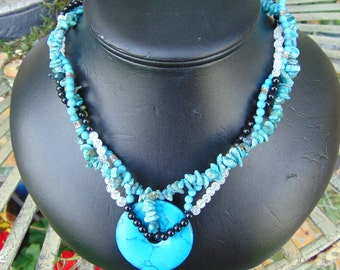 necklace,turquoise.blk. jade, crystals,muli. strand 18 in