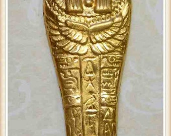 1 piece sarcophagus (large), brass, raw brass, Egyptian, mummy, embellishment, vintage, E0077