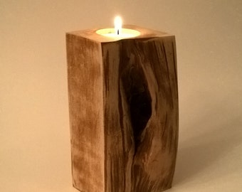 Rustic Wood Tea Light Candle Holder