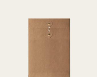 Blank Kraft Brown eyelet format A5 thank you wedding Invitation + envelope