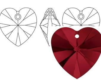 Swarovski 6228 Crystal Heart Pendant 18mm Siam 1PC 3PC