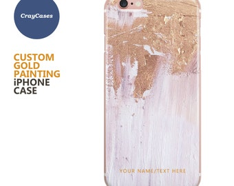 Custom Gold Painting iPhone Case, personalised iPhone 7 case, iPhone 6 case, 6s, 6s Plus, 7 Plus, custom cover (Shipped From UK)