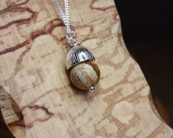 Jasper Gemstone Acorn Necklace