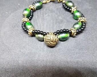 Twist Bracelet with Vintage Gold Button Bead