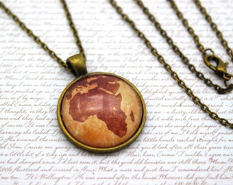 Africa Map, Antique Style Map Necklace or Keychain, Keyring