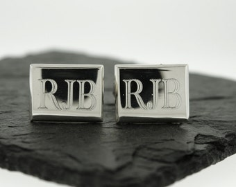 925 Sterling Silver Rectangle Monogram Cuff Links, Groomsmen Gifts