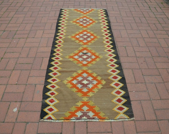 CHRISTMAS SALE %7 Christmas Gift, Turkish Kilim Runner, Boho Rug