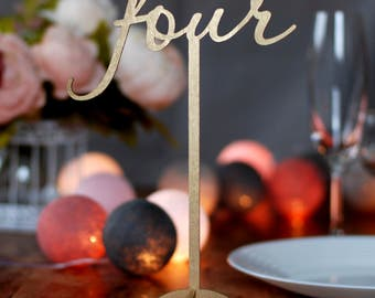 Table numbers with foot, Wood table numbers, Wedding table numbers with stand, Golden table numbers, Rustic wedding, Numbers on stick TN-14