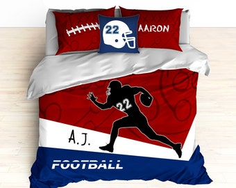 Football Bedding, Personalized Football Bedding, Custom Football Bedding, Blue, Red, Duvet, Comforter, Football, King, Twin, Queen, Toddler