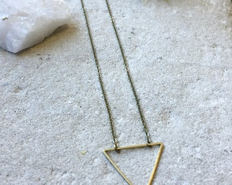 Triangle Necklace, Geometric necklace, Shapes, Layering necklace, Simple necklace