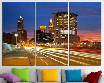 Cleveland downtown Cleveland Canvas Set Cleveland City Cleveland Skyline Cleveland Print Cleveland Photo Cleveland Poster Cleveland Wall Art
