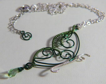 Copper Green Butterfly Necklace