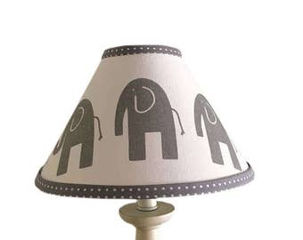 Grey White Elephant Lamp Shade-Baby GenderNeutral -Grey Polka Dot Elephant  Lampshade-Nursery Elephant  Lamp - Boys Girls room - Table Decor