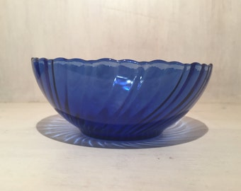 Vintage Cobalt Blue Bowls / Swirl Pattern / Made in France (Set of 2)