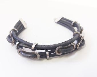 Bike chain bracelet, bike jewelry, bicycle jewelry, chain bracelet, leather bracelet, bike leather bracelet