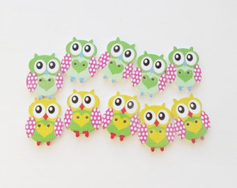 Wooden Button Sewing Buttons Painted Wood OWL Button Wood Buttons Kids Buttons Childrens Button bird Button baby Button  girls Button