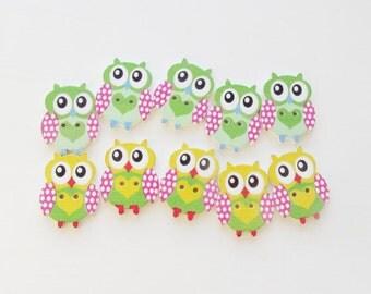 Wooden Button Sewing Buttons Painted Wood OWL Button Wood Buttons Kids Buttons Childrens Button bird Button baby Button  girls Button