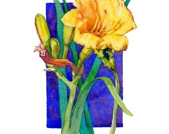 Lilies handmade art watercolor painting giclee print, floral contemporary series, blues, greens, yellows, by Phyllis Nathans