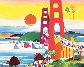 Vintage American Airlines Flights To San Francisco Poster A3 Print
