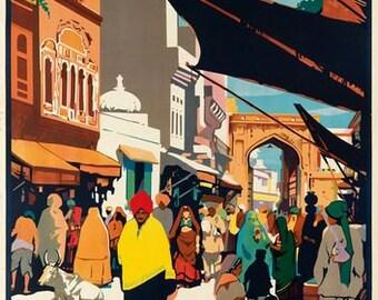 Vintage Lahore India Pakistan Tourism Poster A3 Print