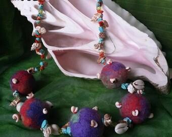 Felted beads, felt accessory
