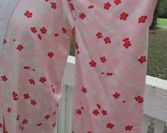 Vintage Japanese Pink Silk Sakura Cherry Blossom Kimono Adult Small or Child